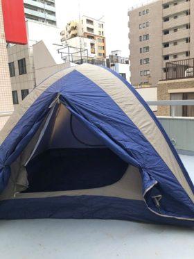 来週金曜日のゆいろテラスのために、しばらく眠っていたテントをたててみました。